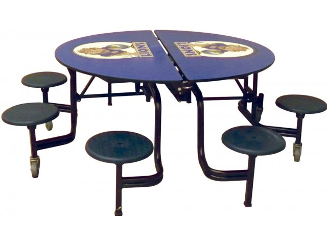 Mobile Round Cafeteria Table Plywood Core 8 Stools AMS608P