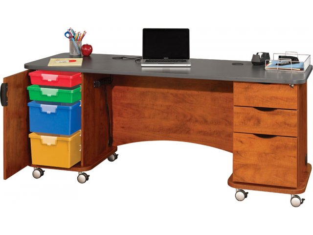 Shown With Optional Keyboard Tray Four Bins On Sliding Tracks Help Keep Supplies Organized And Accessible