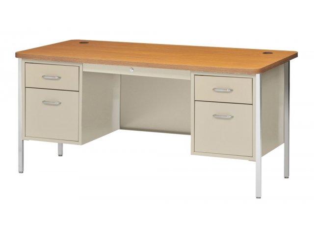 """Double Pedestal Metal Teachers Desk 60""""x30"""" Teacher Desks"""