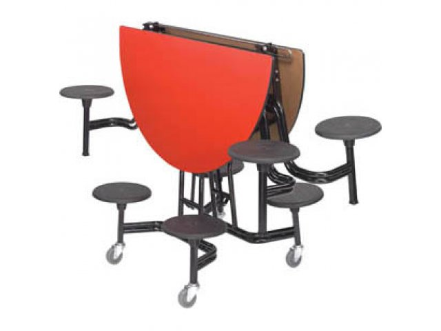 folded round mobile cafeteria stool and bench tables - Cafeteria Tables