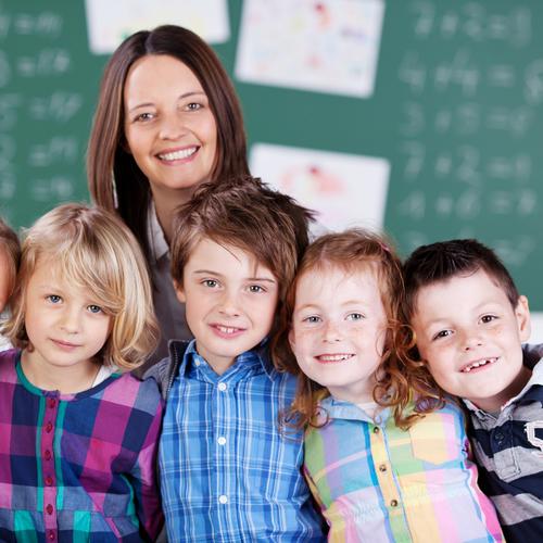 Teacher teaching at a charter school.